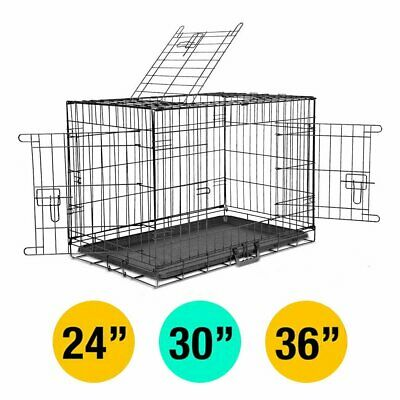 "2 Doors 24"" 30"" 36"" Dog Cat Pet Cage Metal Crate Playpen Collapsible With Tray"