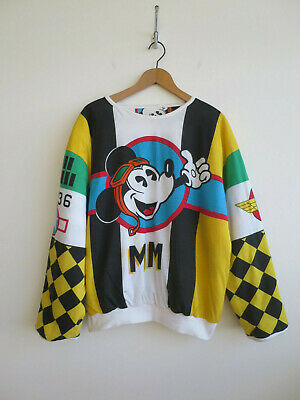 Vintage Mickey Mouse sweatshirt padded reversible cool design 80s oversized M L