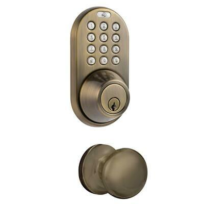 Antique Brass Keyless Entry Deadbolt And Door Knob Lock Combo Pack With Electron