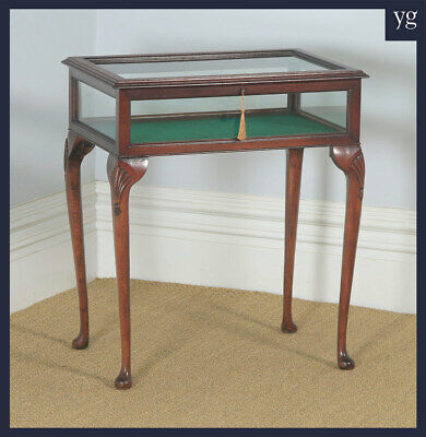 Antique Edwardian Queen Anne Mahogany Glass Bijouterie Display Cabinet Table