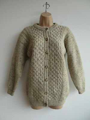 Vintage Aran cardigan chunky knit oatmeal 100% wool traditional made Scotland S