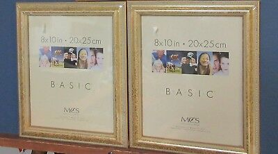 Two 8 x 10  gold ornate hanging picture frames/glass/backing/hanger