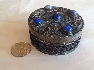 Antique Chinese Tibetan Asian Silver Filigree Pill Box Lapis Lazuli Cabochons 2""