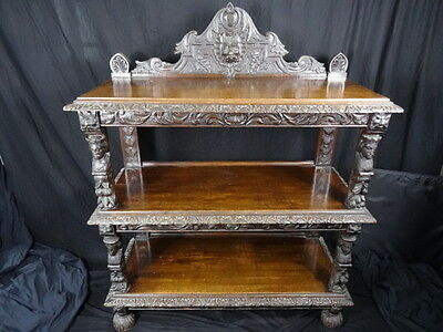 Large Finest Antique 19th Century Carved Kings Black Forest Oak Buffet Sideboard