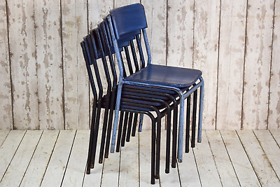 Set of 5 Blue Vintage Industrial Stacking Cafe Bar Kitchen Dining Chairs