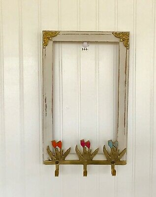 Wood Picture Frame With Brass Tulips Hooks Spring Hooks 14 inches By 9 inches