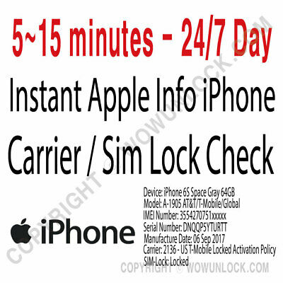 FAST iPhone info Check - IMEI/Simlock/Carrier/Find My IPhone/Blacklist Status