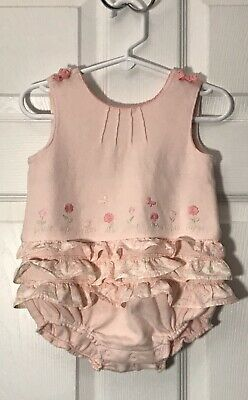Gymboree Infant Baby Girl 3-6 months Fairy Floral Pink One-Piece Bubble Outfit