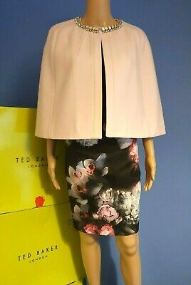 TED BAKER INDAH PINK JEWEL CASHMERE OCCASION CAPE BNWT UK 12 TED 3 US 8 RRP £199