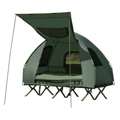 2 Persons Compact Pop Up Camping Tent - With Sleeping Bag Air Mattress Foot Pump