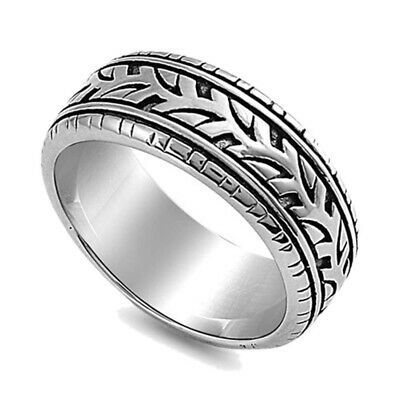 Men Women 9MM Stainless Steel High Polish Oxidized Tire Ring Band