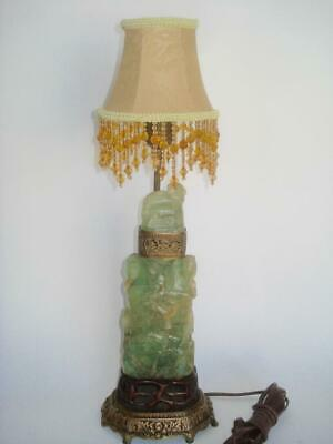 Antique Chinese Carved Jade Green Fluorite Crystal Vase Lamp