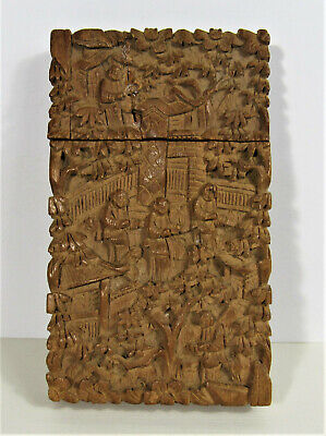 Antique Chinese Card Case ~ Hand Carved Canton Wood Box