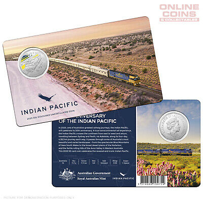 2020 RAM 50c Coloured Uncirculated Coin - 50th Anniversary of The Indian Pacific