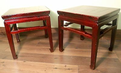 Antique Chinese Ming Meditation Bench/End Table (5315)(Pair), Circa 1800-1849