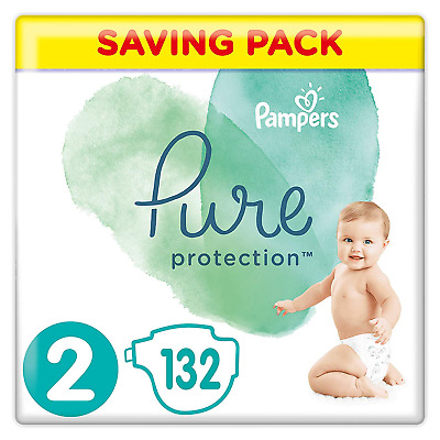 Pampers Pure Protection Size 2, 132 Nappies, 4-8 kg, Saving Pack, Made with and