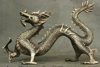 Collect Chinese Dyansty Miao Silver Feng shui Wealth Dragon Loong Beast Statue