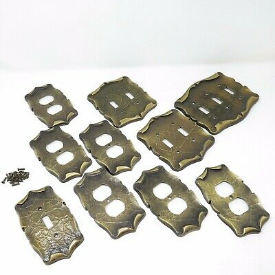 Vtg Amerock Carriage House Brass Light Switch Wall Plates Outlet Covers x 10