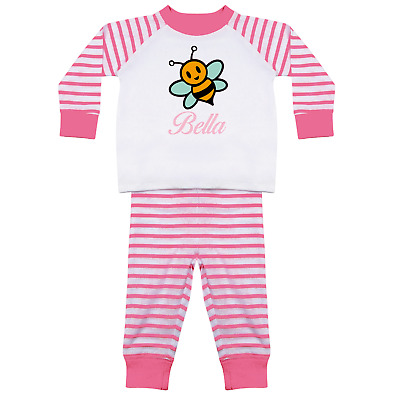 Custom Personalised Name Children's Baby Pyjamas Set Pjs Kids Girls Sets