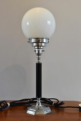 Superb Art Deco table lamp with octagonal base and white glass globe shade M2