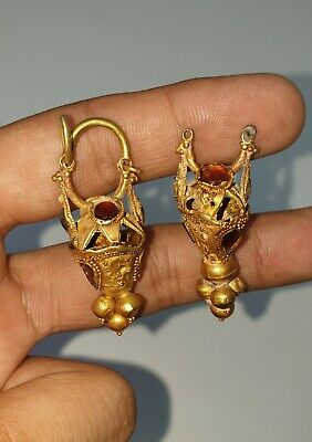 A Very Beautiful Pair Of Ancient Gold Earrings from Afghanistan 100% Authentic