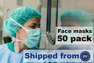 50 pcs Surgical quality Face Masks - 3 Ply - BFE >99,9% - Disposable - Flu Virus