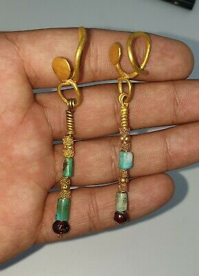 1Pair Of Very Beautiful Ancient Gold Long Earring with Old Turquoise and garnet