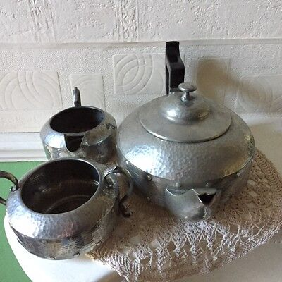 Arts & Crafts Pewter Tea Set A.Milns & Co Sheffield England 1920s