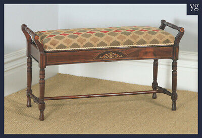 Antique English Victorian Rosewood & Satinwood Inlaid Piano / Music / Duet Stool