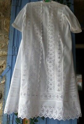 French Vintage White Cotton Lace Baby /Doll Christening gown bespoke handmade