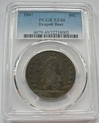 1807 Draped Bust Half Dollar Graded Pcgs Xf 40 Great Original Color & Surfaces