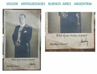 Presidente Juan Domingo Perón firmado y dedicado foto real 1954 1ft x 7´´