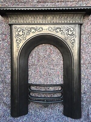 Antique Cast Iron Victorian Fire Surround / Fireplace Arched, Dated 1857, Uk Del