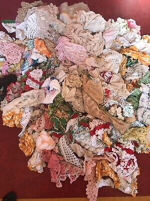 Huge Lot 200 Vintage Doilies Scarves Table Scarves Crochet Doily upcycle craft