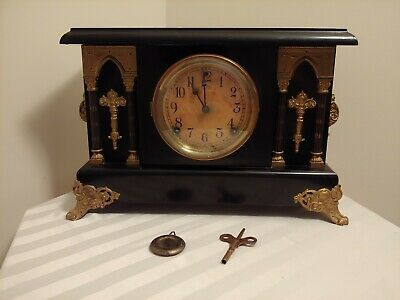 Antique Stunning Sessions Mantle Clock 8 Day 1/2 Strike Cathedral Gong WORKS!