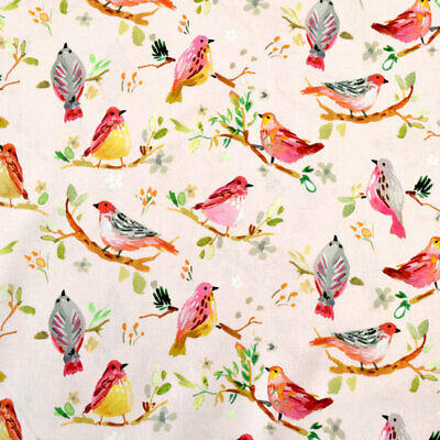 Polycotton Fabric Multi Coloured Love Birds With Branches /& Hearts