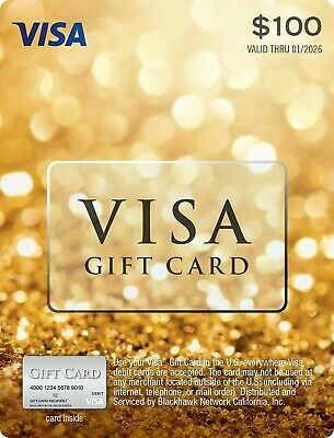 $100 GIFT CARD. ACTIVATED. Non Reloadable. No Fees. Fast Shipping!