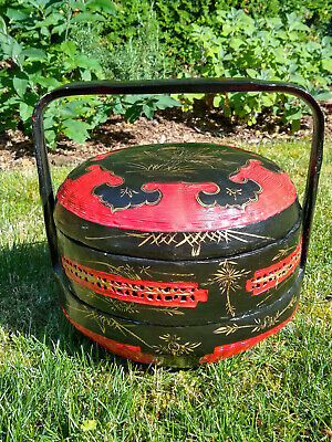Ornate Antique Chinese Food Box w/ Handle 2 layers Large Red Basket