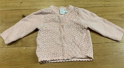 Baby Girls Beautiful Pink Cardigan By Mini Club Age 0-3 Months. Good Condition