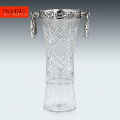 ANTIQUE 20thC RUSSIAN EMPIRE SOLID SILVER & CUT GLASS VASE c.1910