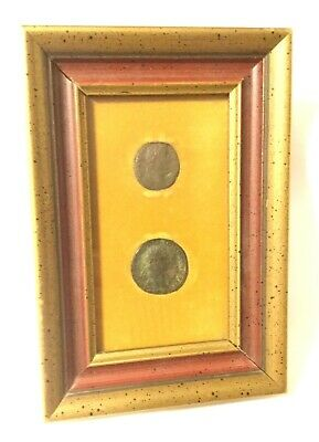 2 ANCIENT ROMAN COINS in Frame Emperor Domitian AD81 - AD96 & Augustus BC27-14