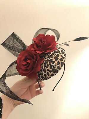 Leopard print And Red Rose Fascinator On Headband