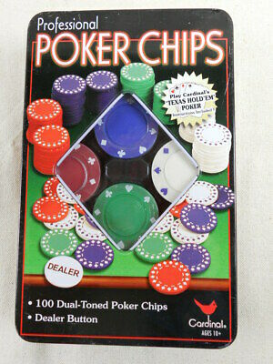 Cardinal Professional Poker Chips 100 Dual-Toned in Metal Tin with Dealer Button