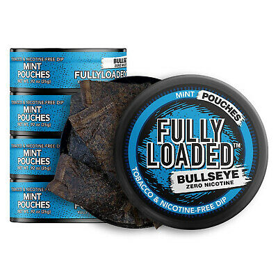 Fully Loaded Chew Tobacco and Nicotine Free Mint Bullseye Pouches Bold Flavor...
