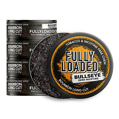 Fully Loaded Chew Tobacco and Nicotine Free Bourbon Bullseye Long Cut Unique ...