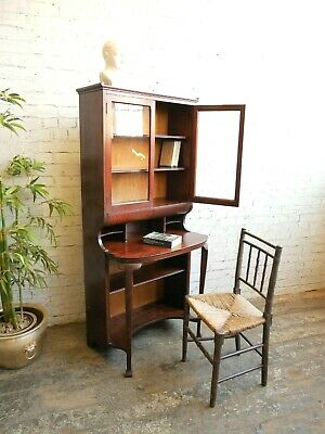 Antique Edwardian Ladies Mahogany Maple Writing Table Desk Bookcase Workstation