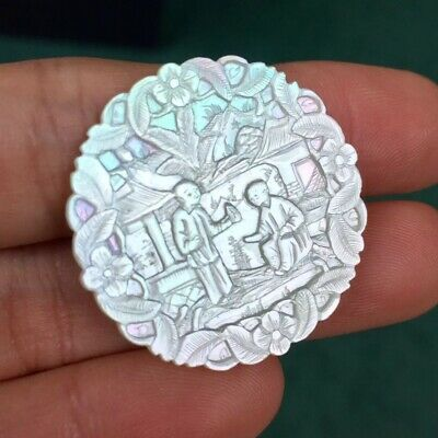 Chinese Mother Of Pearl Hand Carved Gaming Chip Coin Trade Token Asian Antique