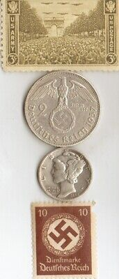 free WW2-*german 'PW'-card in *RUSA(USSR) and -*german SILVER EAGLE coin/stamps