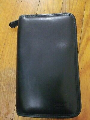 "VINTAGE 1990's COACH BLACK LEATHER ZIPPERED 7.5"" TRAVEL BAG ORGANIZER WALLET"
