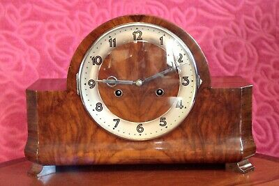 Vintage Art Deco German 'HAC' 8-Day Walnut Case Striking Mantel Clock